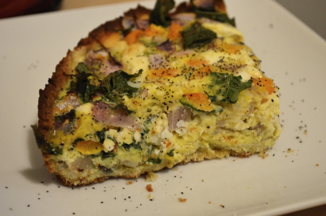 Grain-free/gluten-free Quiche made with coconut flour.  Also includes dairy-free option.  By My Darla Clementine