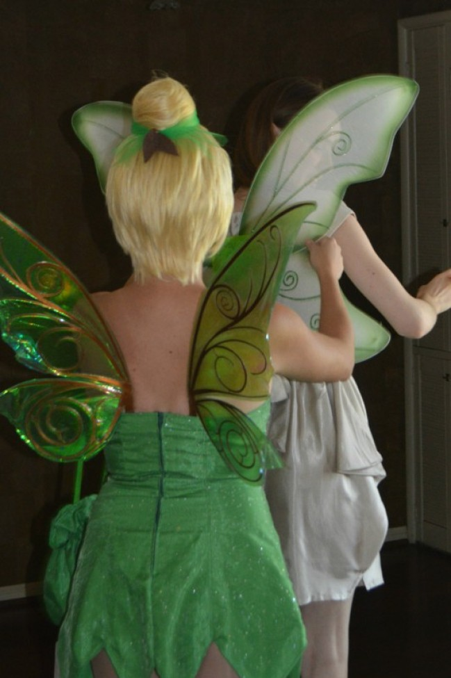 "Sassy Tinkerbell Bachelorette Parey (theme inspiration and tutorials). This night featured a visit from Tink, a fairy makeover for the bride, personalized fairy tale, lessons in sass, ""enchanted forest"" pixie juice, lingerie games, diy shoe pom-poms, character dining at Downtown Disney, and so much more! by My Darla Clementine."