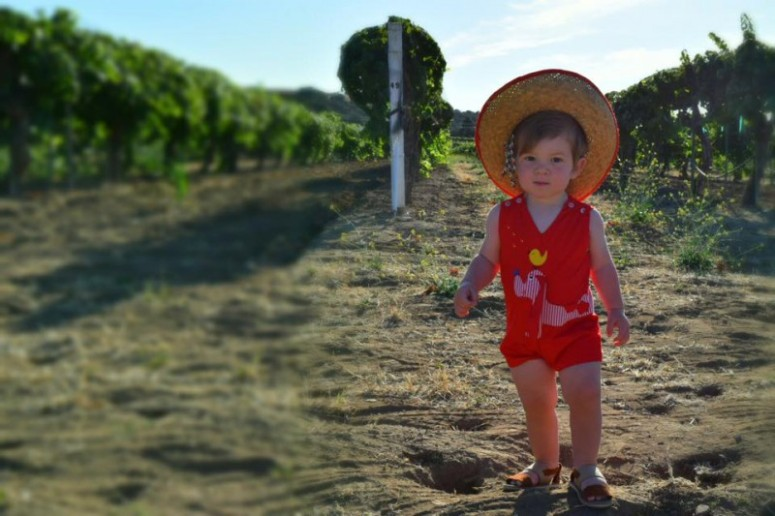 Miles models an amazing vintage romper and hat for today's sustainable kid fashion #ootd!  By My Darla Clementine