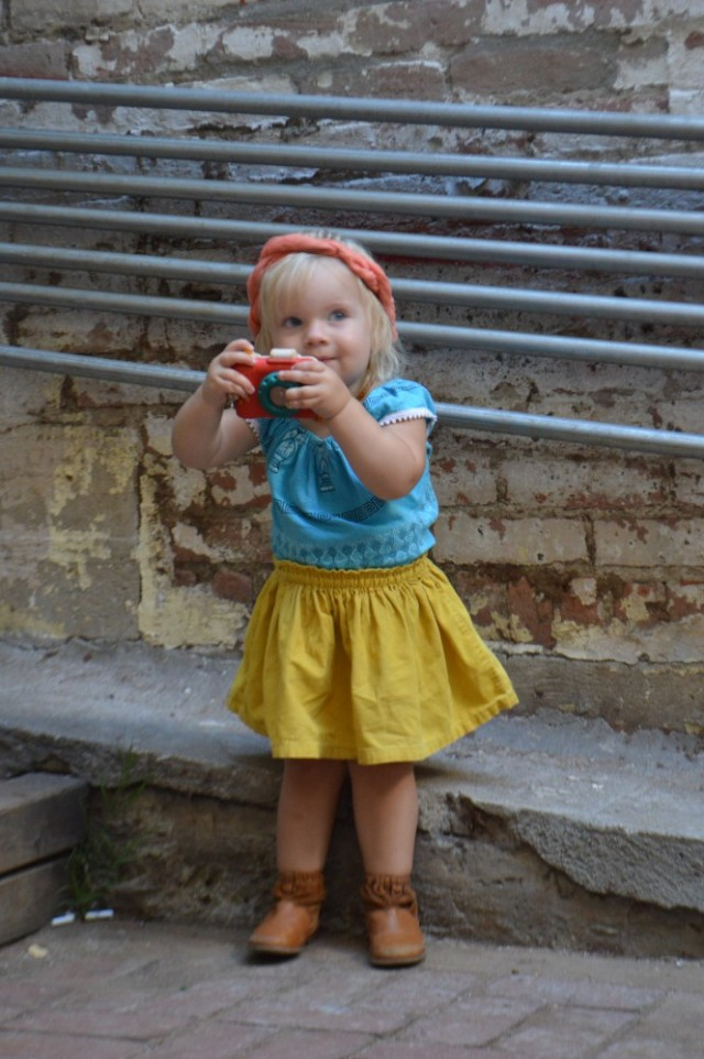 The Day Clementine Turned 2 - Eco baby fashion OOTD feature. Handmade vintage tops from Greece and Mexico. By My Darla Clementine.
