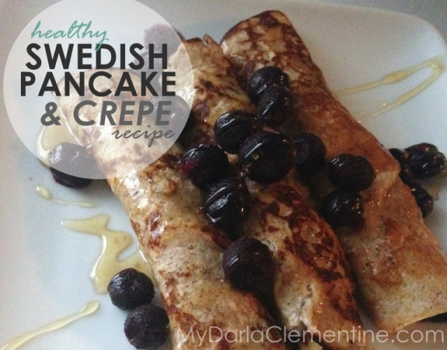 Healthy Swedish Pancake (Plett) and Crepe Recipe. Grain-free, refined sugar-free. A delicious gluten-free alternative to the traditional treat. Uses arrowroot, almond flour, and coconut flour. By My Darla Clementine.