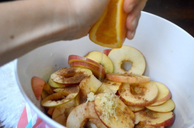 Nutmeg Ginger Dehydrated apple chews - crispy chips & chewy rounds (clean, easy, festive). This simple recipe is healthy and simple to throw together. Can be spiced to your tastes and kids love them! by My Darla Clementine.