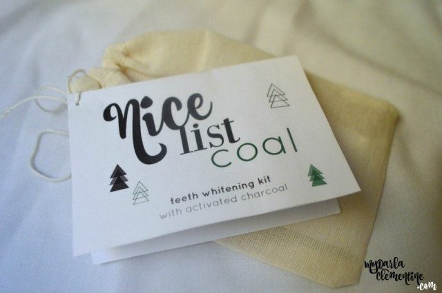 "How to whiten teeth naturally with activated charcoal, and a DIY stocking stuffer tutorial with free printables ""Nice List Coal."" By My Darla Clementine."