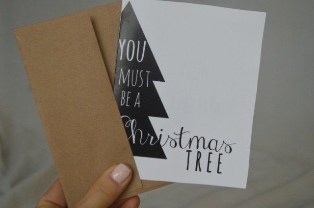 FREE Printable Christmas Card inspired by Sufjan Stevens' Barcarola // FRONT: You must be a Christmas Tree, INSIDE: You light up the room // by My Darla Clementine