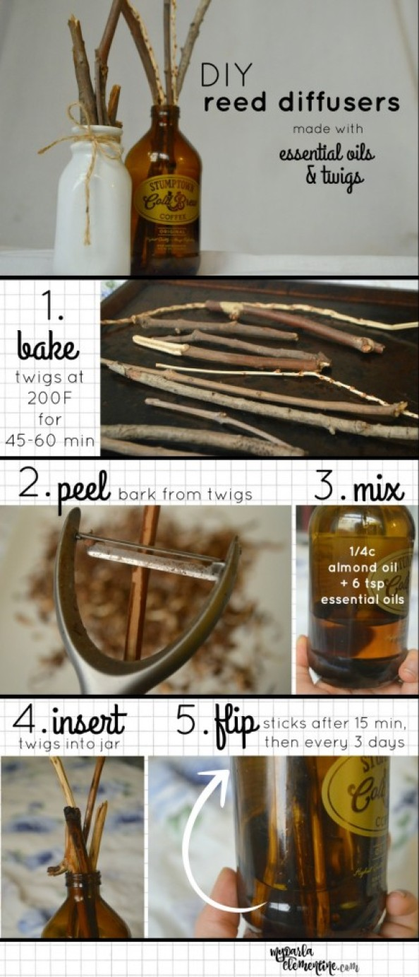 How to Make DIY Reed Diffusers using Essential Oils & twigs. Step-by-step tutorial walks you through baking and peeling twigs, upcycling bottles, types of oils needed to make the scents effective, and how to maintain it. Click through to read more!