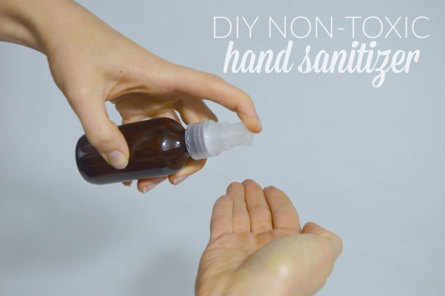 DIY Non-toxic Hand Sanitizer Gel using essential oils and organic aloe vera.  Alcohol free!